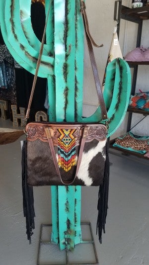 """The Loretta"" Tooled Leather Cowhide Purse Tote with Bead Accent"