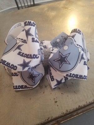 Girls Dallas Cowboys Rhinestone Bow