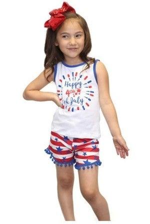 kids 4th of July Short Set