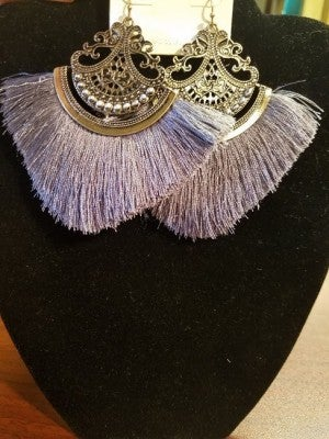 "Gray Thread Tassel Earring Size: 3.75""L"