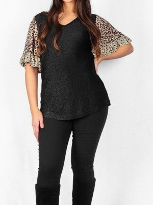 Shimmer Black Top with Leopard Sleeves