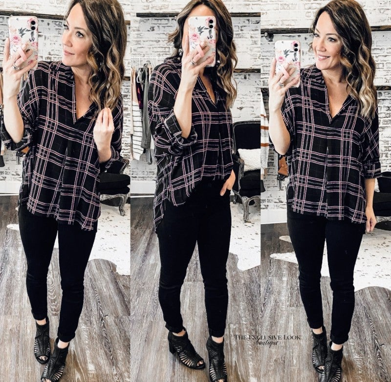Black/Ivory/Red Plaid Top