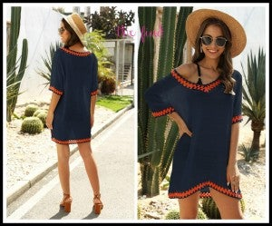 Boho Cover Up  in Navy