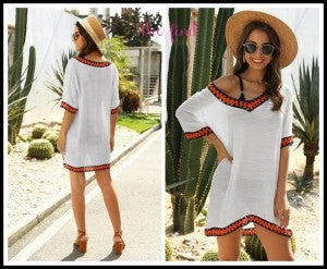 Boho Cover Up in White