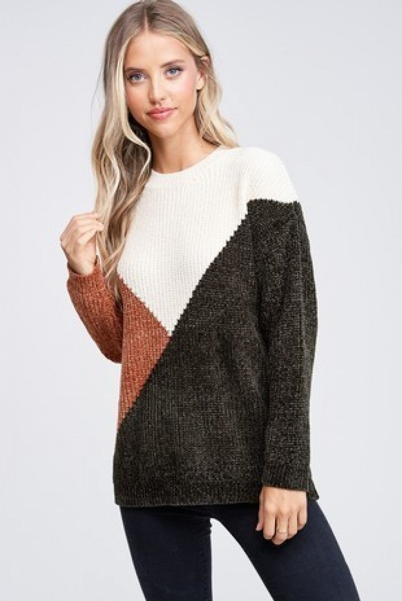 The V Color Block Sweater