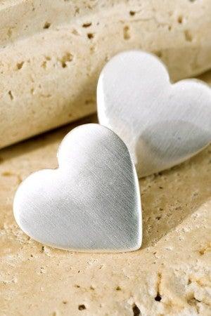 Satin Finish Heart Earrings