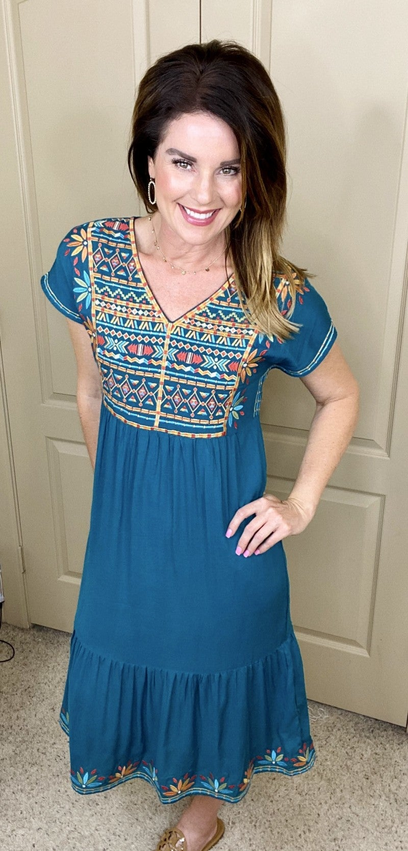Boho Embroidered Midi Dress