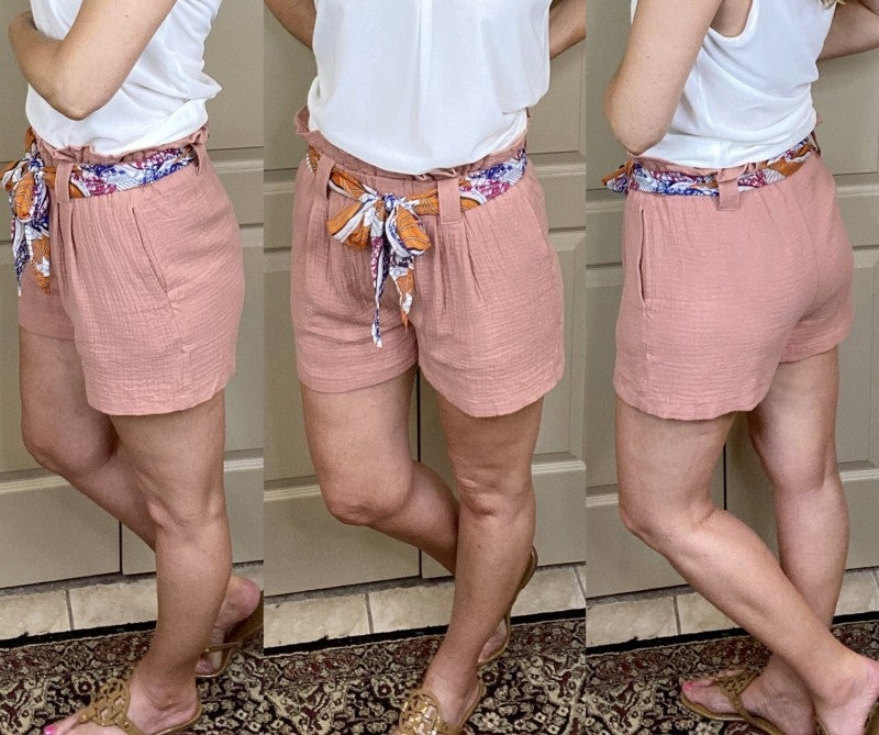 Coral Paper Bag Shorts With Printed Belt - LMTD//NO RESTOCK!