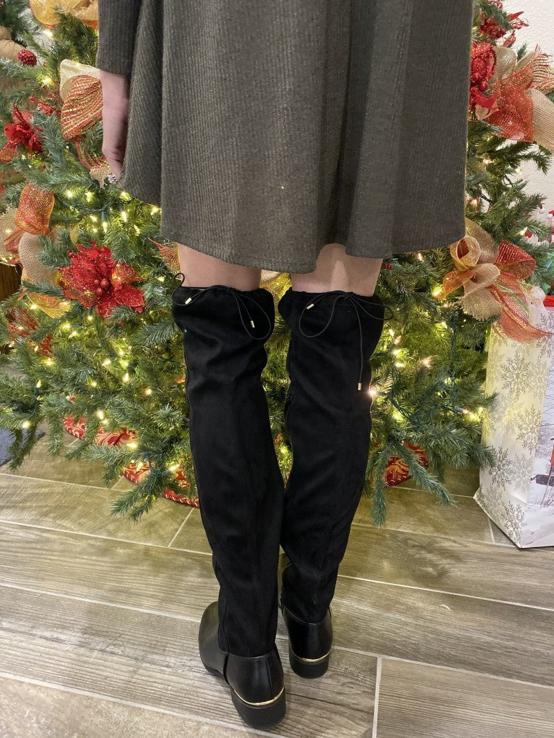Kendra - Over The Knee Black Boots