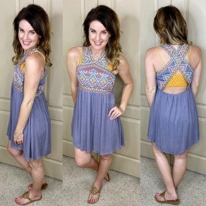 Criss Cross Back Embroidered Dress