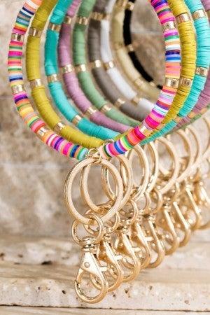 Disc Bead Key Ring Bracelet