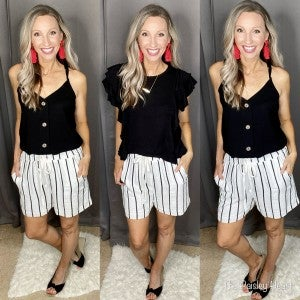 B&W Striped Linen Comfy Shorts