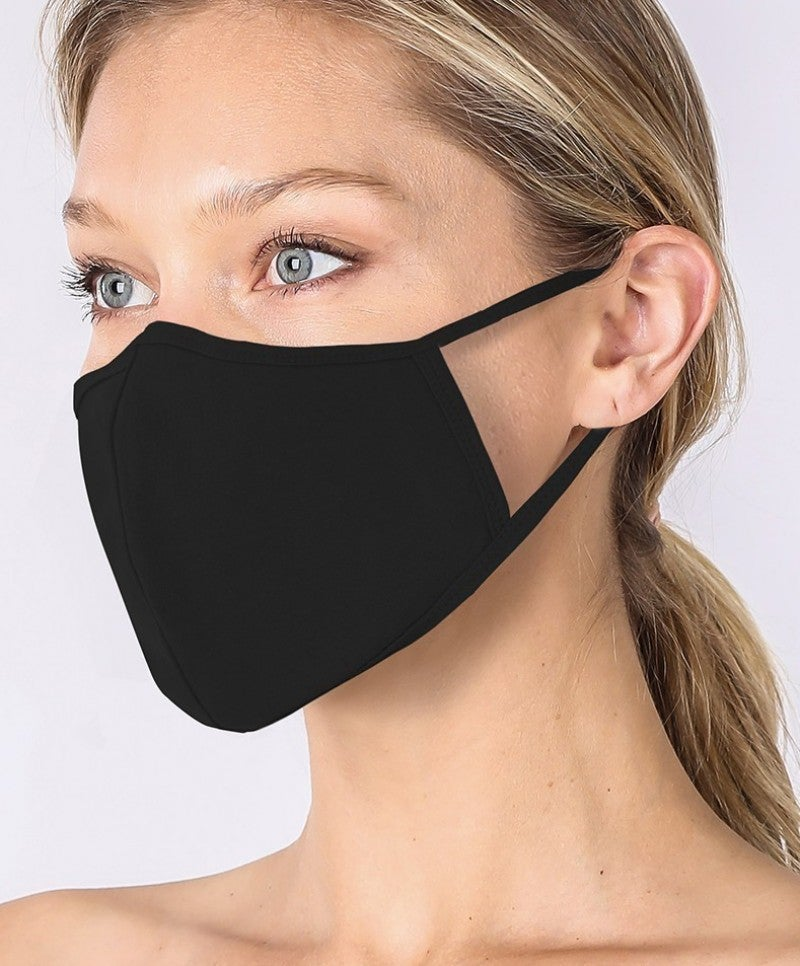 WASHABLE COTTON FILTER POCKET MASK - Solid Black