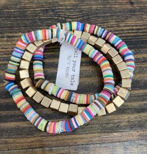 Disc Bead & Gold Block Stretchy Bracelet Set: 3 pieces - LMTD!