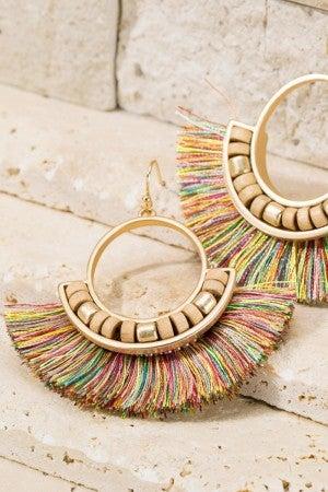 Festive Tassel and Wood Bead Earrings
