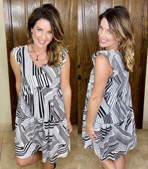Geo Print B&W Ruffle Sleeve Dress