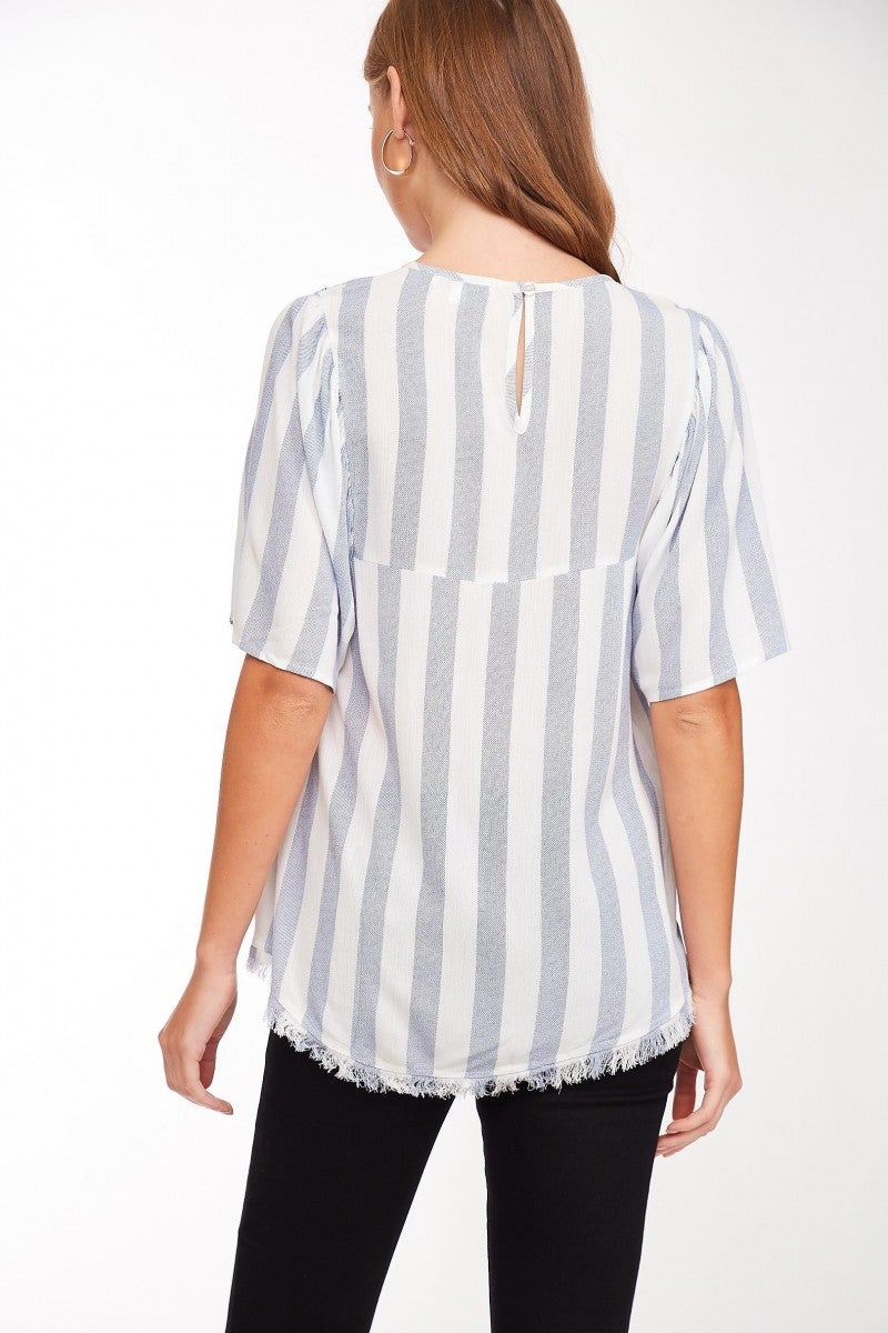 Embroidered Striped Peasant Top