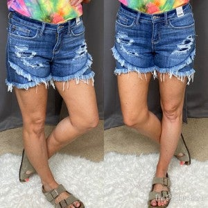 Judy Blue Tulip Raw Edged Shorts - LIMITED STOCK!!
