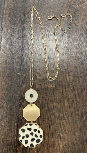 Cheetah Octagon Triple Drop Necklace
