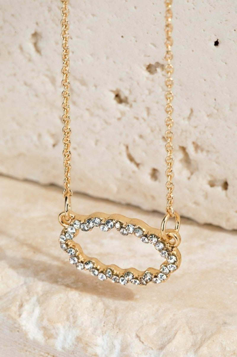 Designer Inspired Pave Crystals Pendant Necklace