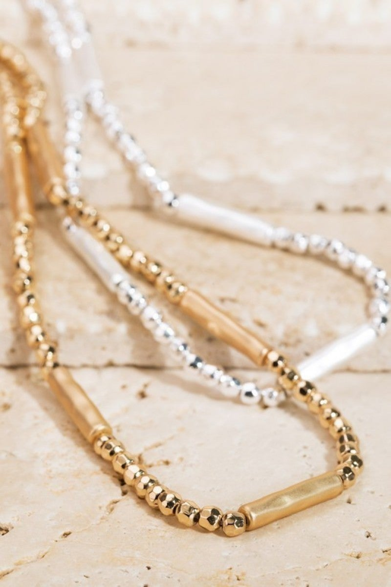 Cylinder Bead Layering Necklace