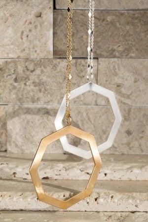 Brushed Satin Geo Pendant Necklace