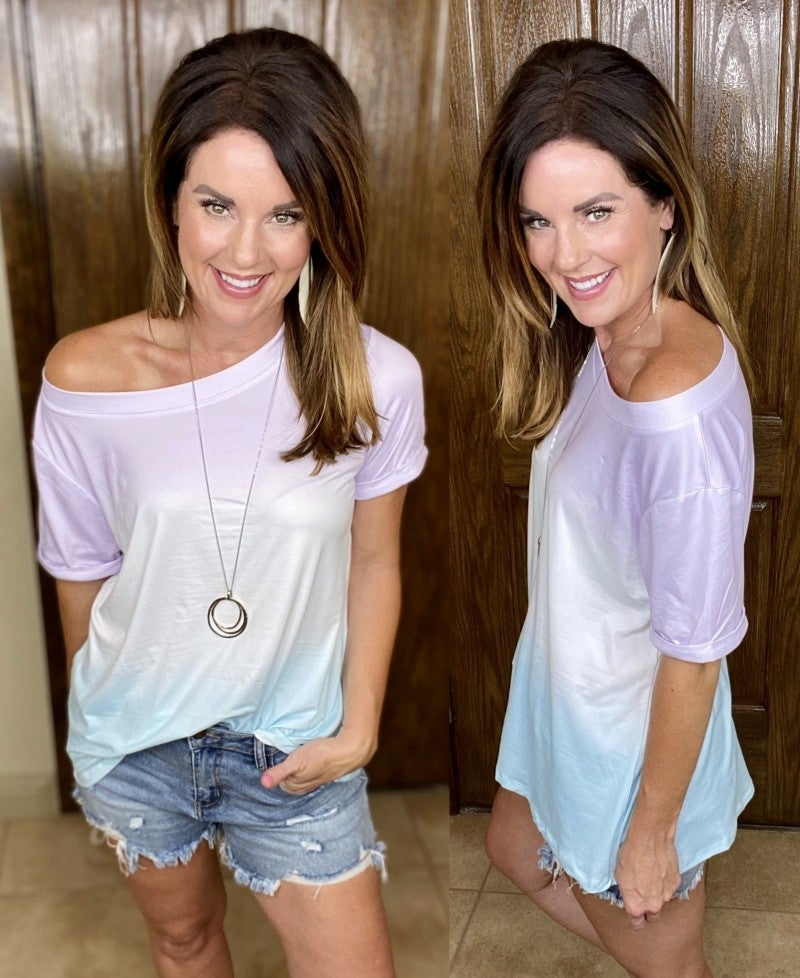 Short Sleeve Ombre Top