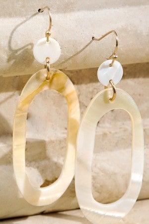 Beachy Oval Shell Drop Earrings