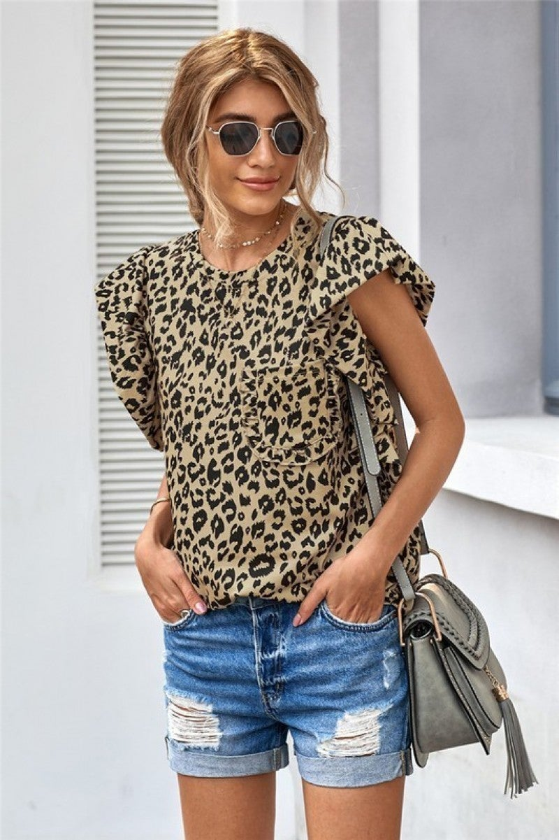 Ruffled Cap Sleeve Pocket Tee - Leopard