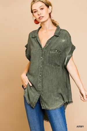 Washed Button Up with Frayed Hemline