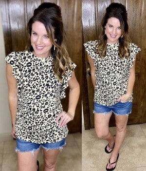 Ruffled Cap Sleeve Pocket Tee - Leopard