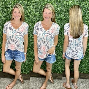 Tie Dye French Terry V-Neck Top