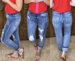 Judy Blue Distressed Vintage Splattered BF Jeans - LMTD//NO RESTOCK!