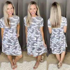 Grey Camo Midi Dress