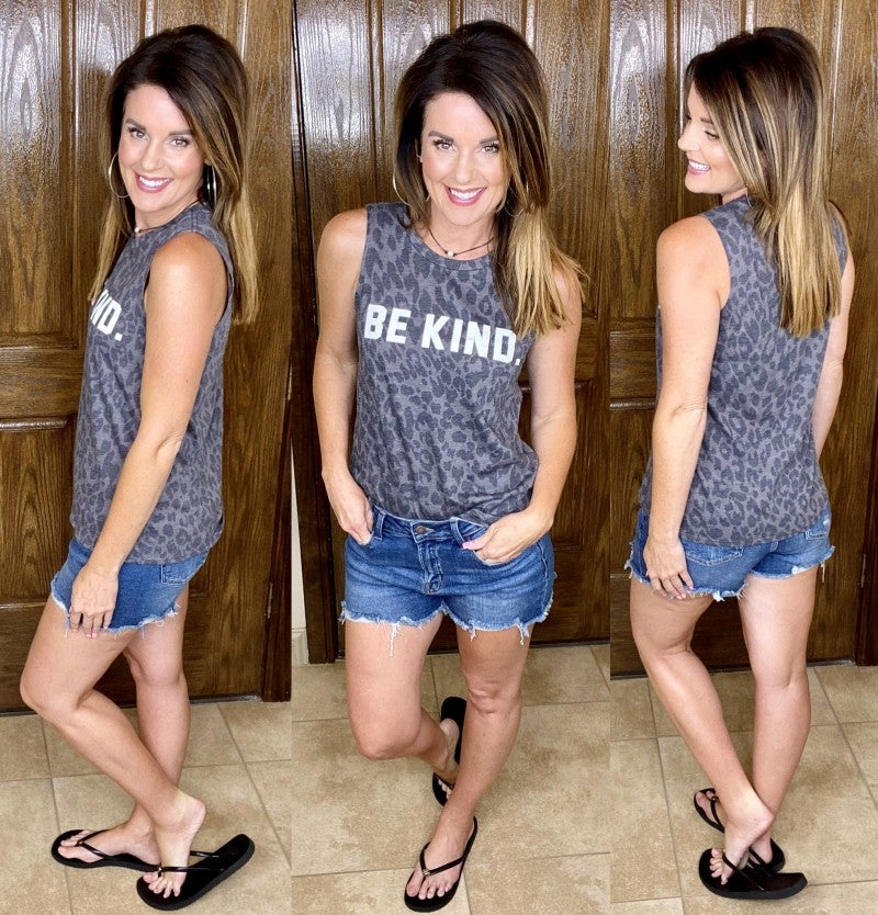Be Kind Leopard Graphic Tank