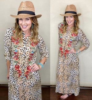 Savannah Jane Leopard Embroidered Duster Dress