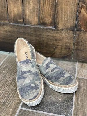 Boho Camo Espadrille Slide On Shoes