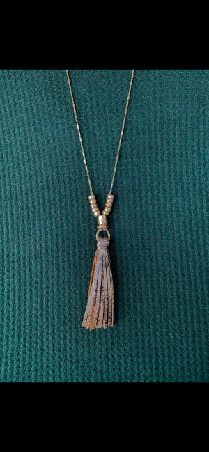 Charmed I'm Sure Leather Tassel Necklace
