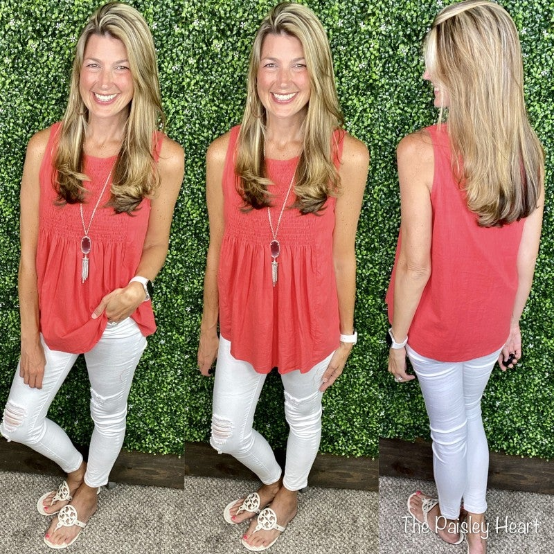 Sleeveless Smocked Solid Tank - Coral