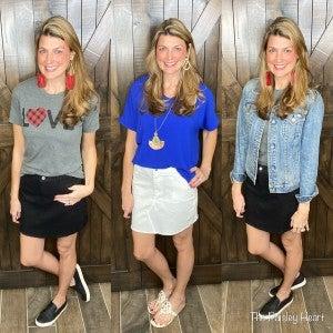 Denim Stretch Skirt with Frayed Hemline