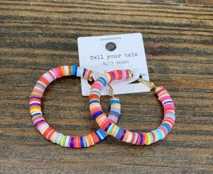 Multi Neon Disc Bead Hoop Earrings!!