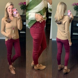 Judy Blue Maroon Game Day Skinnies