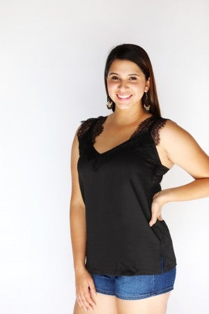 Black Lace Trim Shoulder Camisole Blouse