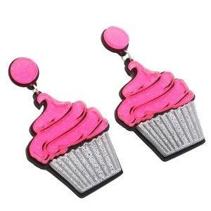 Cupcake - Acrylic Dangly Earrings