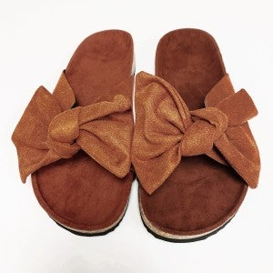 Suede Bow Sandals - Rust