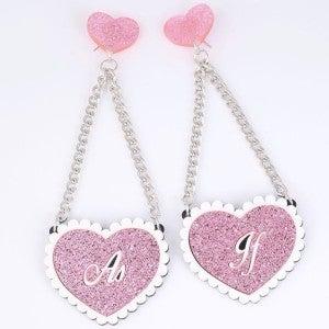 As If - Statement Glitter Heart Earrings