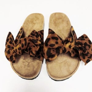 Suede Bow Sandals - Leopard