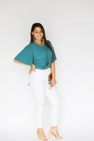 Front Twist Bell-Sleeve with Back Tie Detail Blouse