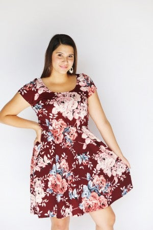 Burgundy Floral BabyDoll Dress with Pockets