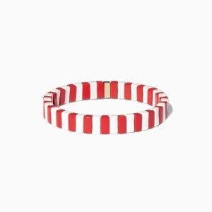 Red and White Enamel Tile Stretch Bracelet
